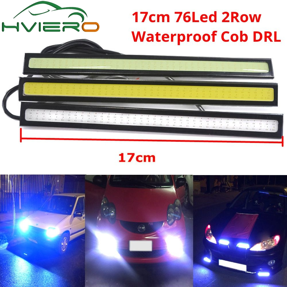 1Pcs update Ultra Bright LED DC 12V 17cm Double Row 76 Leds Waterproof Daytime Running lights Auto Car DRL COB Driving Fog lamp 2pcs car cob leds daytime running bright light drl waterproof fog lamp u shape