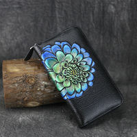 Brand Retro Wallets Long Women Wallet Genuine Leather Coin Clutches Female Purse Embossing Zipper Brand Ladies