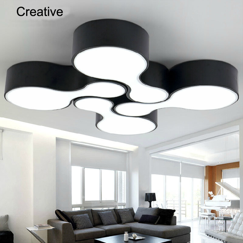 ФОТО New 2015 modern led ceiling lights for living room bedroom 12w acrylic shade+iron body balcony kitchen dining room ceiling lamp