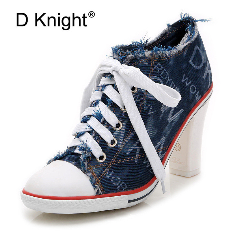 High Quality New 2019 Women s Shoes Denim High Heels Spring Summer Canvas Shoes Hot Sale