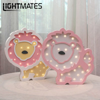 Night Light INS Wooden Lion Luminaria LED House Reading Wireless Wall Table Lamp For Bed Modern