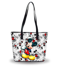 ディズニーミッキーマウスおむつバッグショルダー漫画女性のトートバッグ大容量袋の女性の防水バッグファッション手の旅行ビーチバッグ