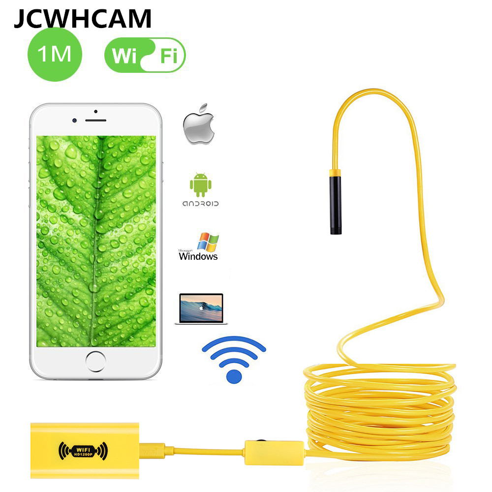 JCWHCAM WIFI Endoscope mini camera 1200p HD Snake Borescope Camera 2MP Android IOS Wirless Endoscopy Rigid 2M 5M 7M 10M 2m hd 1200p wireless wifi endoscope mini waterproof semi rigid inspection camera 8mm lens 8led borescope for ios and android pc