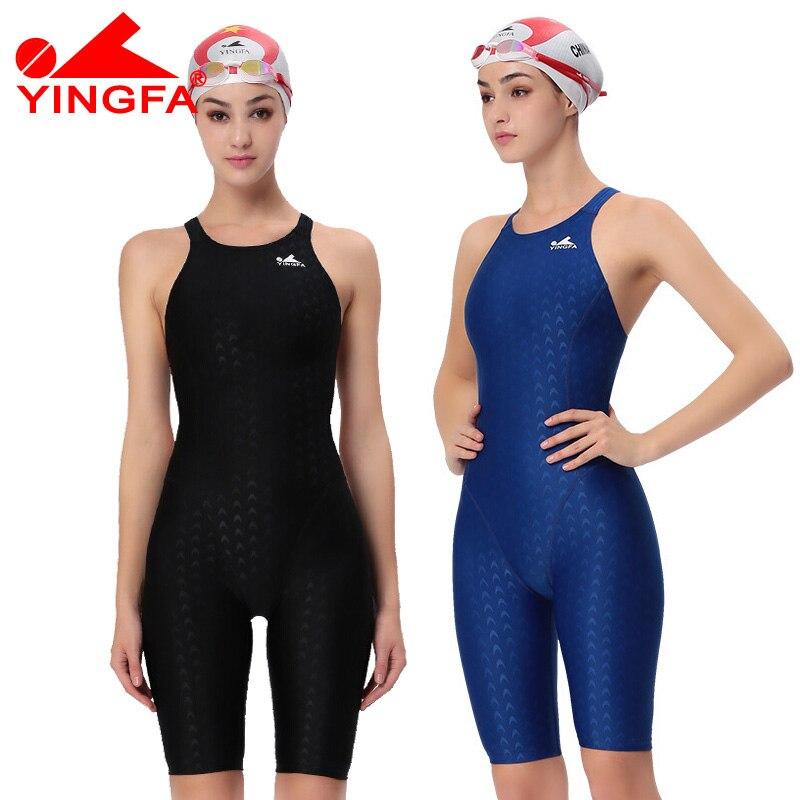 Yingfa FINA אושרה אחת חתיכה התחרות אורך הברך עמיד במים עמיד כלור בגדי ים של בגדי הים בגד ים Sharkskin