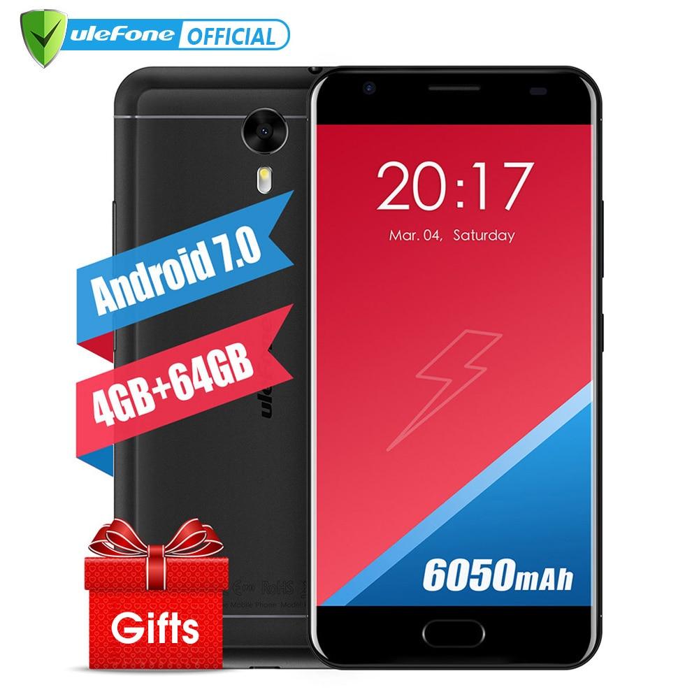 Original Ulefone Power 2 Mobile Phone 5.5 Inch FHD MTK6750T Octa Core Android 7.0 4GB+64GB 16MP 6050mAh Fingerprint ID 4G GPS