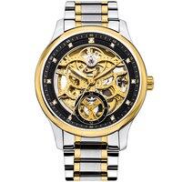 HOLUNS gold watch Men skeleton Automatic Mechanical Sapphire stainless Steel Hollow Waterproof Wrist Watch relogio masculine