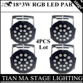 4pcs/lot 18*3W RGB LED Par Lights  DMX512 control disco lights professional dj equipment LED lamplamp