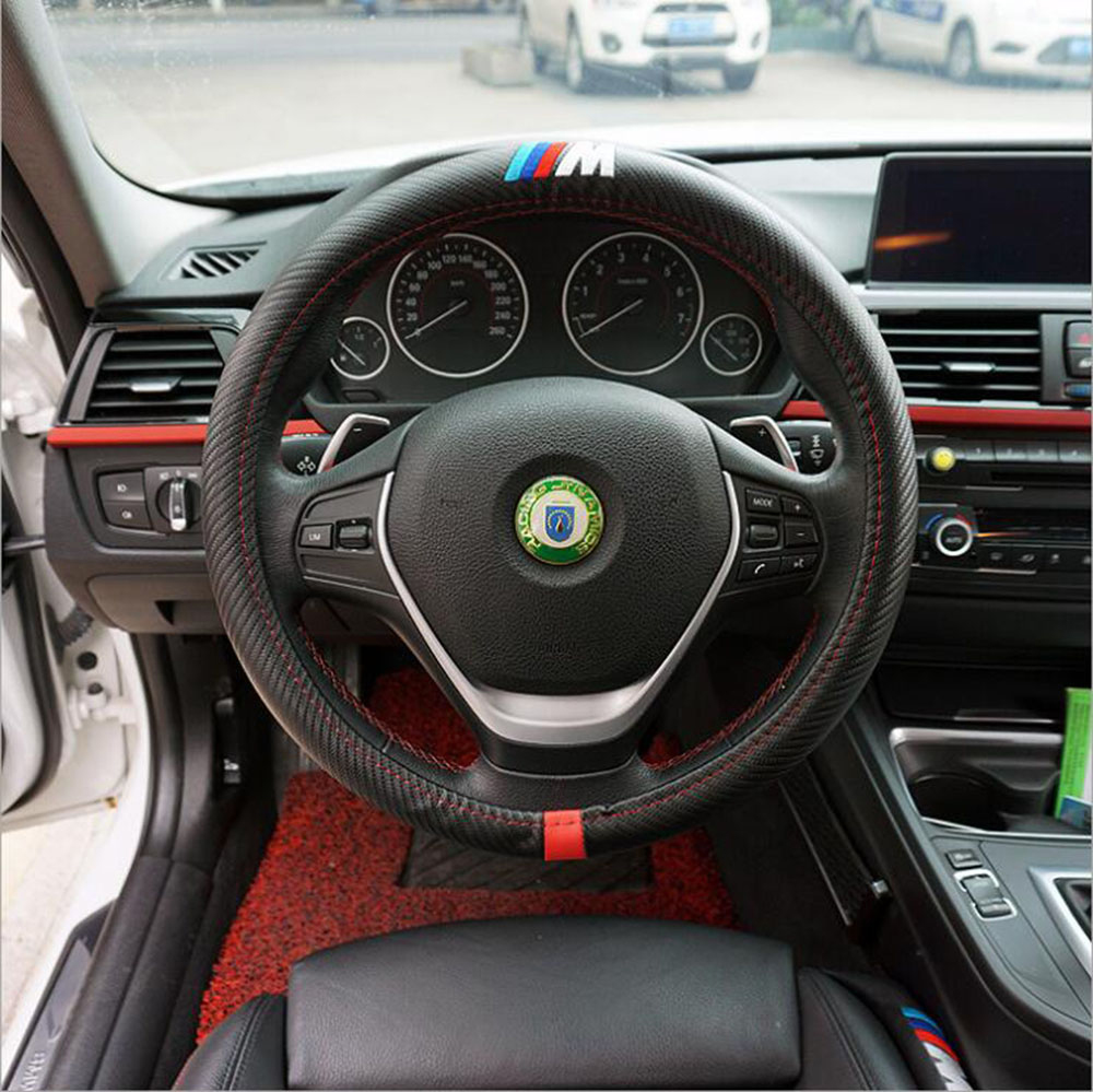 Car steering wheel cover m styling carbon fiber leather pu for bmw x1