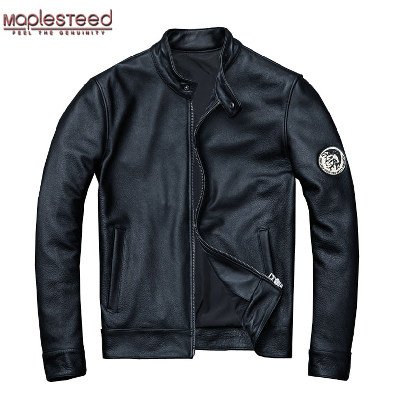 MAPLESTEED Natural Calfskin Leather Jacket Men Skin Jackets Black Genuine Leather Jacket Man Leather Coat Overcoat Autumn M102