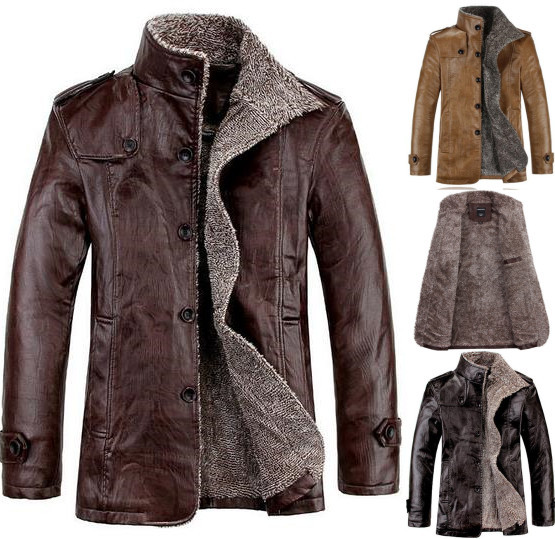 Aliexpress.com : Buy Winter Leather Jacket Men Motorcycle Coat ...