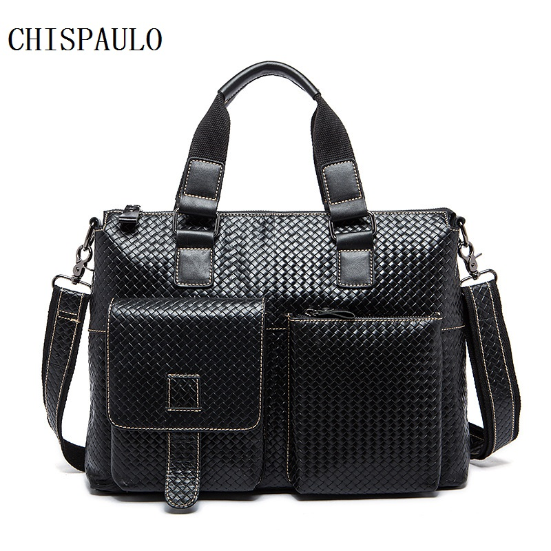 CHISPAULO Guaranteed 100% Genuine Leather Oil Wax Men's Travel Bag Tote Laptop Briefcases Men Bags shoulder belt messenger T660 guaranteed 100% natural genuine leather men bag shoulder tote leather men travel bags men s bags handbags large size