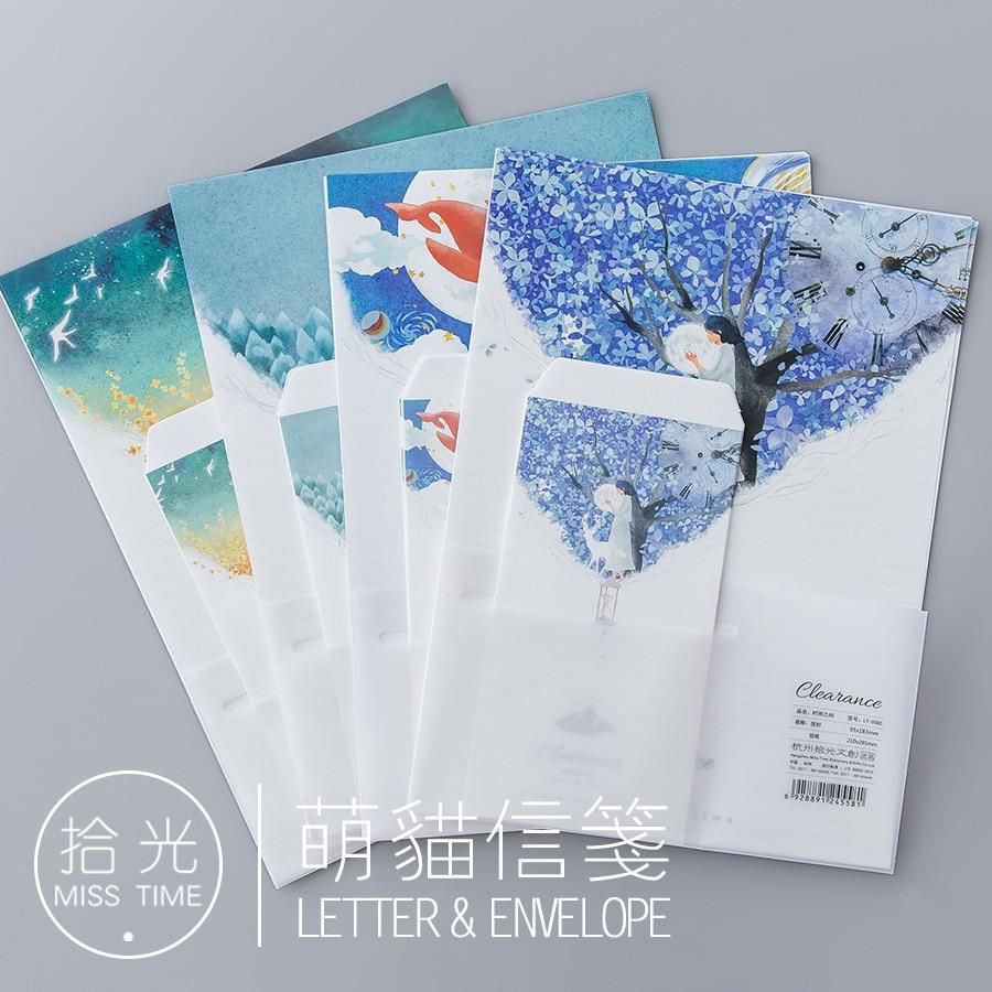 9pcs/Set 3 Envelopes + 6 Writting Paper Beautiful Nature Series Envelope For Gift Korean Stationery