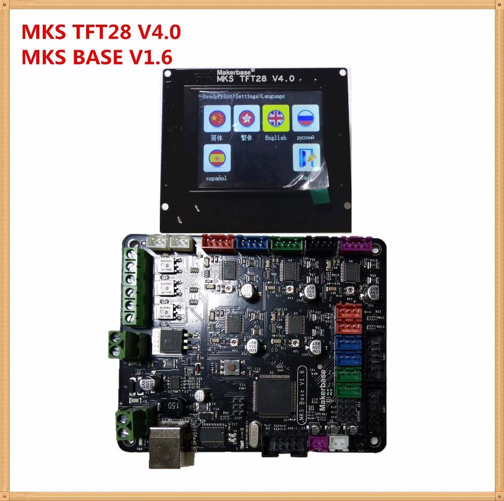 3d printer contRol unit MKS BASE V1.6 + MKS TFT28 V4.0 touch screen all in one controller starter kit imprimante Reprap panel 3d printer kit motherboard mks base mks tft32 touch screen all in one controller starter kits imprimante reprap control panel