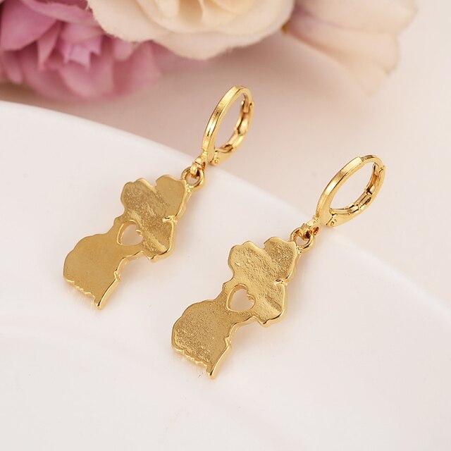 Drop Earrings Map Of Guyana Pendanwomen Men Gold Color Guayana Jewelry Republic Gift