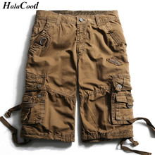 HALACOOD Fashion Sexy Quality New Summer Calf-Length Cargo Mens Cotton Shorts Multi-pocket Solid Male Puls Size Beach Shorts Fat