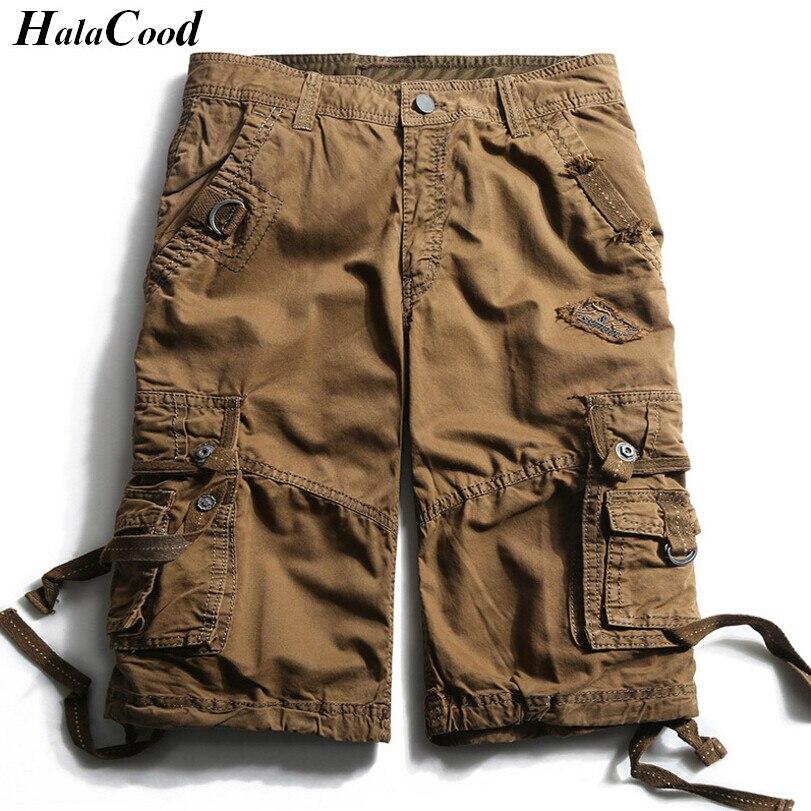 HALACOOD Mode Sexy Qualité Nouvelle D'été Veau-Longueur Cargo Hommes Coton Shorts Multi-poche Solide Mâle Puls Taille plage Shorts Graisse