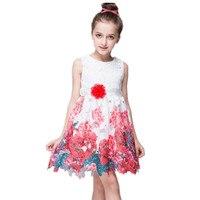 Retail Children Dresses Spring Summer Girls Printed Dresses High Grade Princess Children Girls Clothing 907
