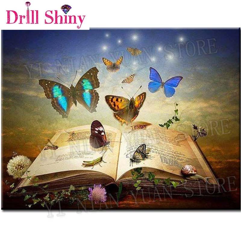 5D Square animal full drill3D Diamond Painting Embroidery pattern Butterflies&book scenery Cross Stitch kits Mosaic wall sticker