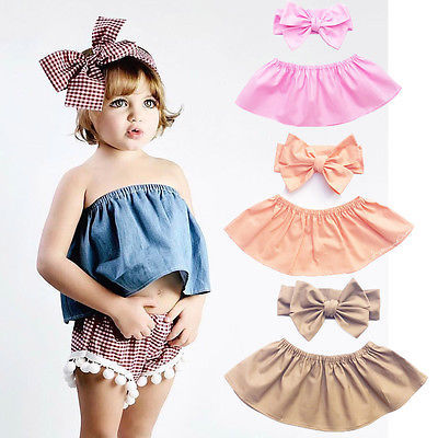 4e2d3606cc3 Toddler Kids Baby Girls Outfits T-shirt Tops+Bowknot Headband 2PCS Set Clothes  Off Shoulder Tops summer Girls