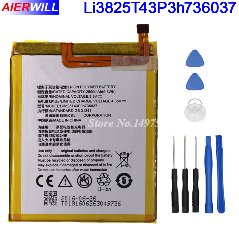 Li3825T43P3h736037 Battery For ZTE BV0720 / For ZTE Blade A2 / For ZTE Blade V7 Lite Dual SIM Batterie Bateria 2500mAh +Tools