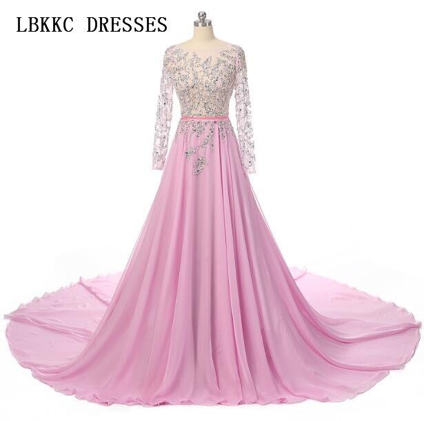 Vestidos De Festa Long Sleeves   Evening     Dress   Pink Chiffon With Beaded Top Transparent Abendkleider Floor Length Robe De Soiree