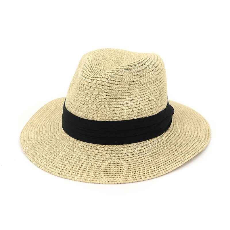 Женские Унисекс Лето Большой Пляжный навес соломенная шляпа от солнца плетеный узор широкие плиссированные бинты Декор одноцветное Цвет вечерние классический джаз шляпа