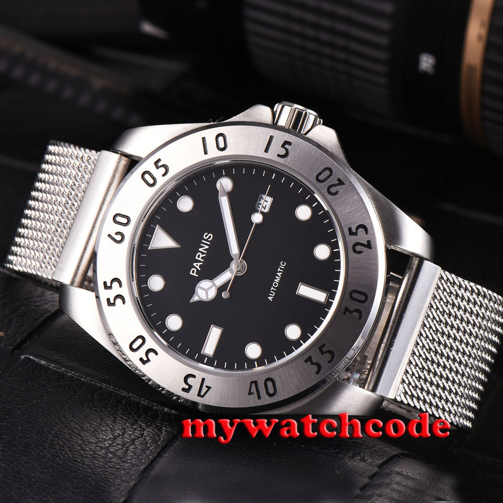 лучшая цена 43mm Parnis black dial Sapphire Glass 21 jewels miyato Automatic mens Watch P791