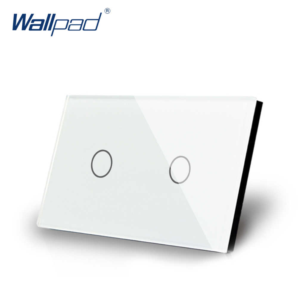 2 Gang 1 Way Touch Switch US/AU Standard Wallpad Luxury Crystal White Glass Panel Touch Screen 2 Gang On/Off Light Wall Switch