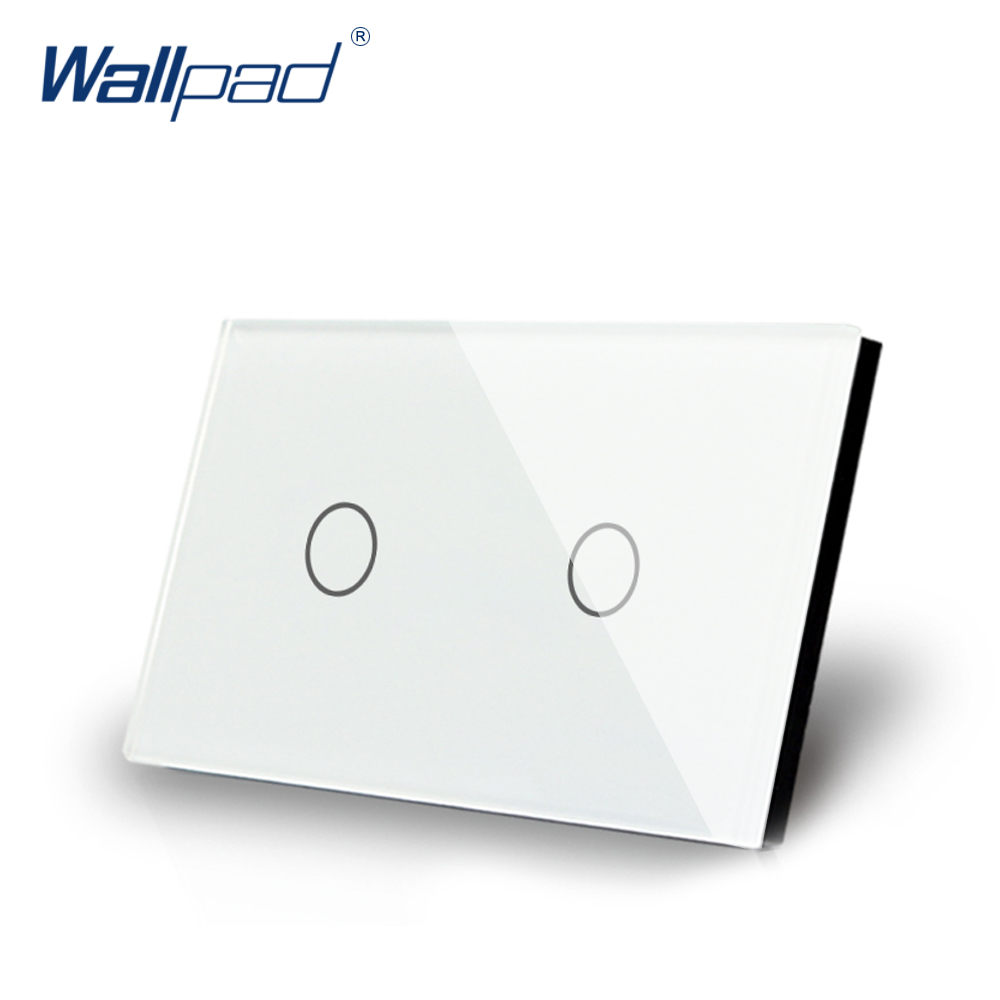 2 Gang 1 Way Touch Switch US/AU Standard Wallpad Luxury Crystal White Glass Panel Touch Screen 2 Gang On/Off Light Wall Switch free shipping us au standard wall touch switch gold crystal glass panel 1 gang 1 way led indicator light led touch screen switch