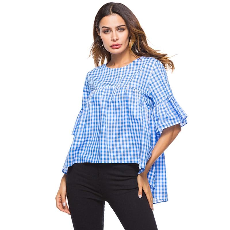 8c26d1f02e8e2e Blue Plaid Blouse Women Loose Casual Shirts Ruffles Irregular Tops Shorts Sleeve  Summer 2019 Spring Tee