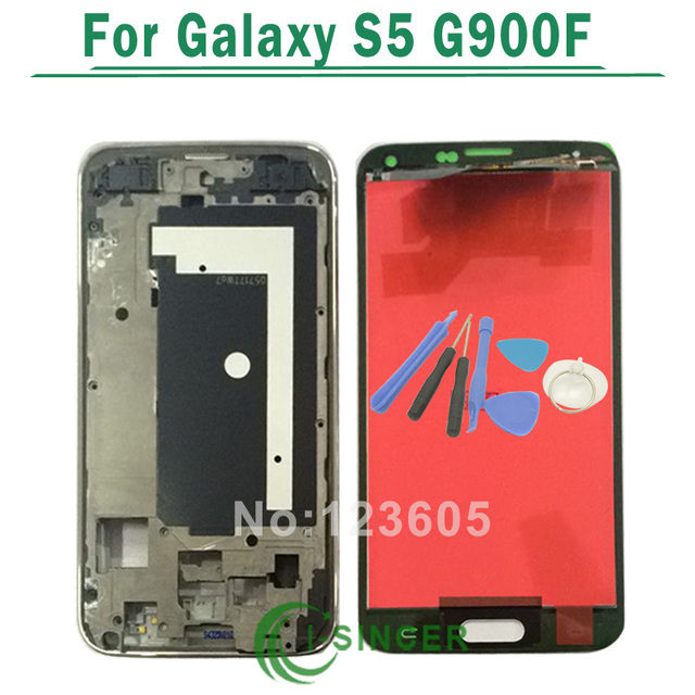 Black/White For Samsung For Galaxy S5 G900F LCD Display With Touch Screen Digitizer Assembly With Frame + Tools Free Shipping