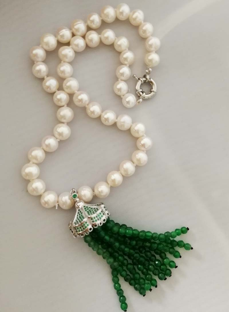 freshwater pearl white near round shape+green jade tassel 9-10mm necklace 18inch FPPJ wholesale beads nature free shipping 110v 220v heat and cold home oil press machine peanut cocoa soy bean oil press machine high oil extraction rate