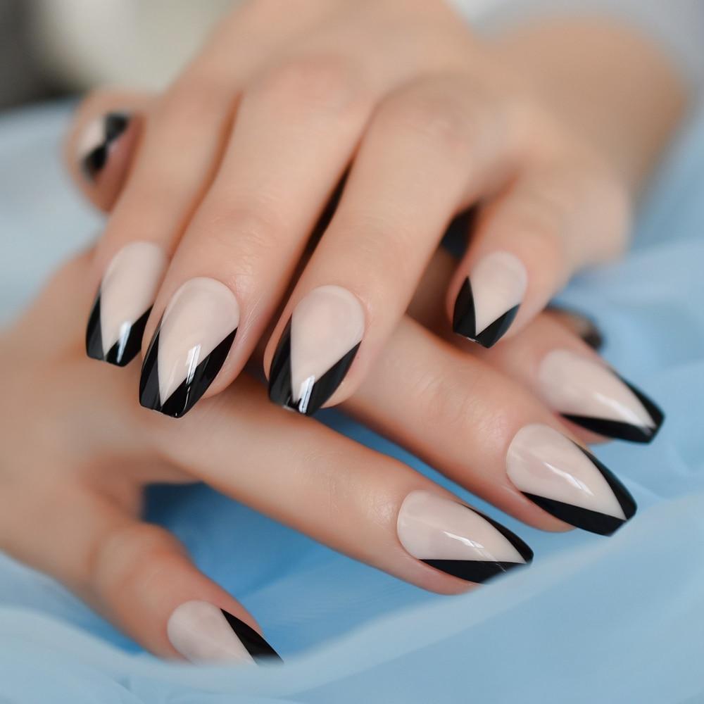 French Triangle Shiny Nail Art Design Black Border Coffin Nail Nude Natural  Daily Ballerina Nails 24Pcs False Nails  - AliExpress