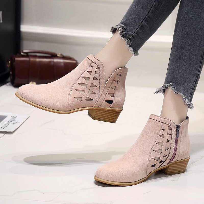 Rimocy 2019 spring hollow out single shoes woman faux suede round toe square heels pumps women 4cm med heels casual shoes femme 33