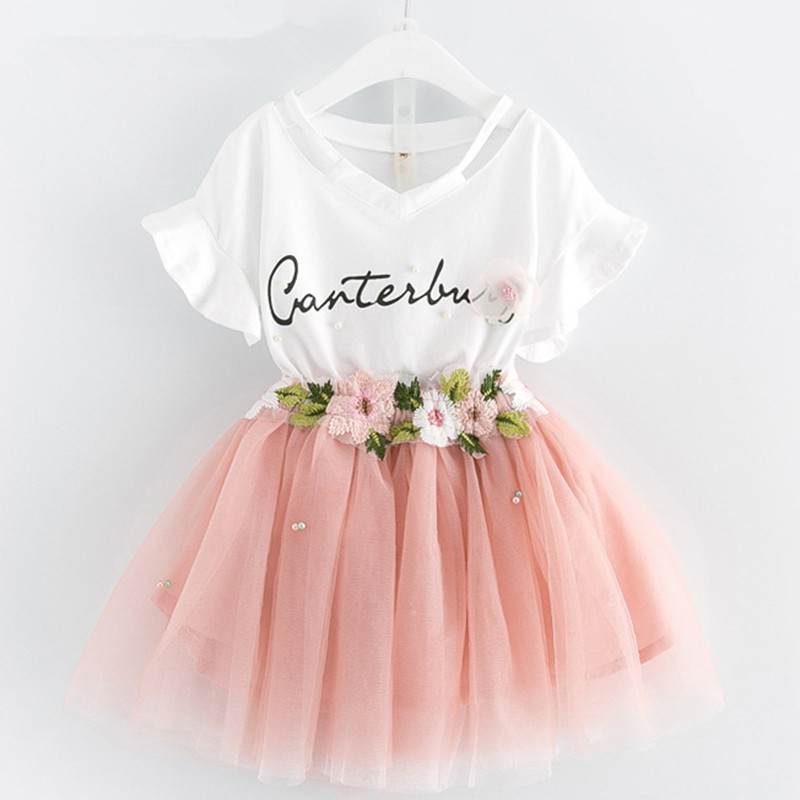Hot 2-7Yrs Toddler Girl Summer Clothing <font><b>Sets</b></font> Butterfly Sleeve <font><b>Tshirt</b></font> + Flower Mesh Ball Gown Skirt 2pcs <font><b>Baby</b></font> Girl Clothes image