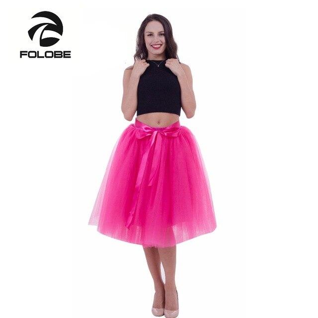 47b1f62b092 FOLOBE Rosa 7 capas de la falda de Tulle faldas de tutú Womens enagua  cinturón elástico