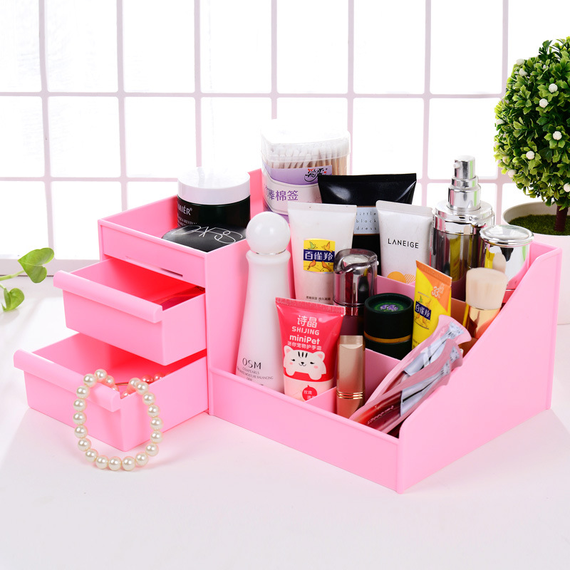 Hot Selling Modern Glossy Candy makeup Container Plastic Storage box Multi-purpose cosmetics organizer office stationery casket