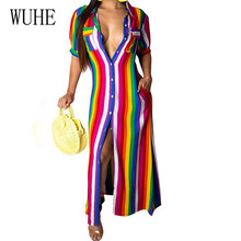 WUHE Women Casual Striped Long Shirt Dress Elegant Turn-down Short Sleeve Floor-length Summer Leisure Party Club Vertidos