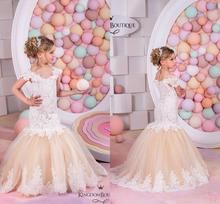 2016 Mermaid Style Cute Flower Girl's Dress Lace Bodice Appliques Cap Sleeves Corset Back New Long Girl's Pageant Dress FD96