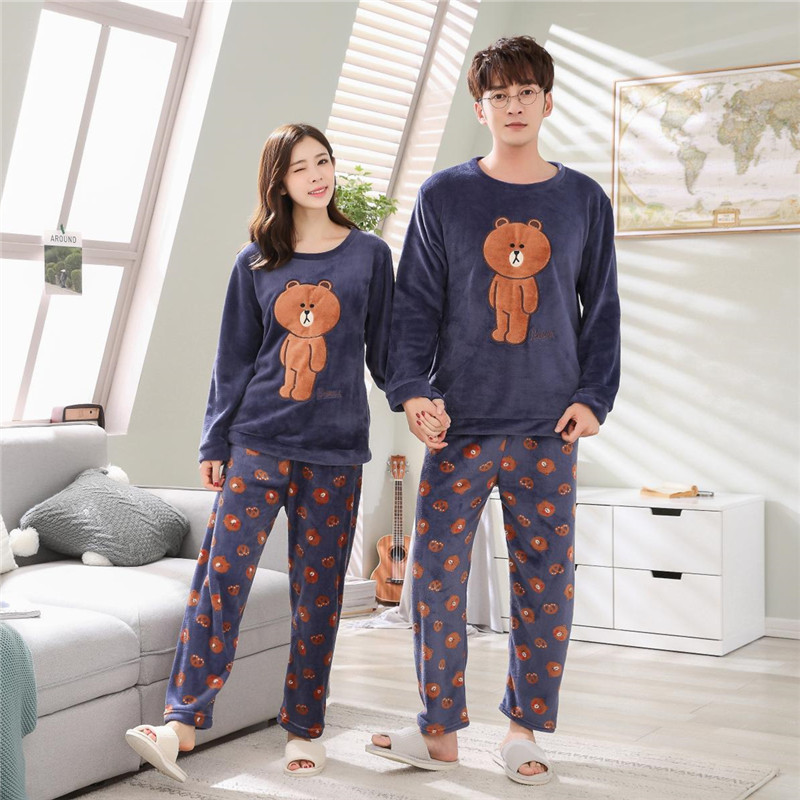 New Winter Couple   Pajamas     Set   Thicker Flannel Sleepwear   Set   Men & Women Cartoon Bear Printing Home Service Leisure   Pajamas