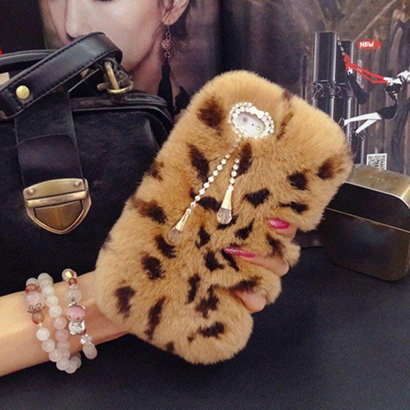 imágenes para Lujo Fuzzy Cajas Del Teléfono Del Diamante de Piel de Conejo Rex Real para Samsung S7 NOTA A3 A5 A7 Serie de Felpa Caso Mullido Pelo de La Contraportada Suave