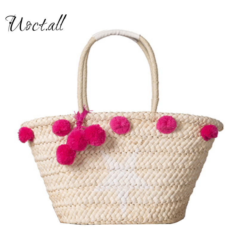 Uoct.all 2018 New Straw bag Beach Bags Women Hand Knitting Handbags Casual Bucket Bag Summer Beach Shoulder Bag ...