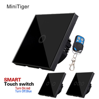 MiniTiger White Crystal Glass Panel Smart Home Touch Switch AC110 240V LED Indicator EU UK Single