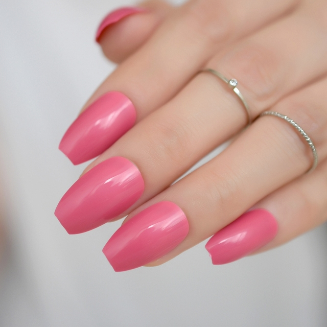 24 Ballerina Coffin False Nails Light Coral Red Color Nails ABS ...