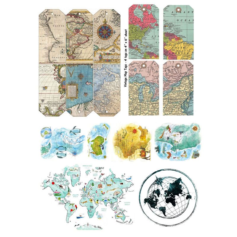 2 Pcs/lot Vintage World Map Tag Decoration Mohamm Planner Diy Sticker Pack Post It Notebook Bullet Journal Stickers Scrapbooking