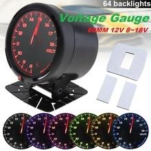 60MM 12V LED Car Voltage Gauge Meter/Water Temp Gauge/Tachometer/Oil Temp Gauge/Boost Gauge/Oil Press/Vacuum Gauge 64 Backlight цена и фото