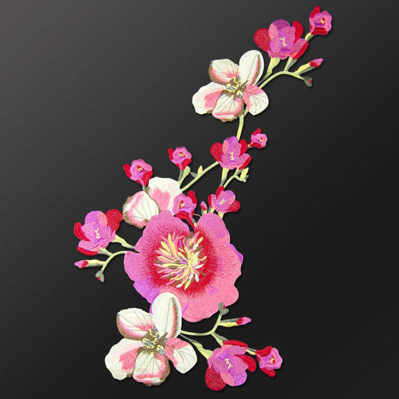 China National embroidery large cloth posted auspicious Flower clothes patch decals DIY velvet dress decoration accessories-in Patches from Home & Garden on AliExpress