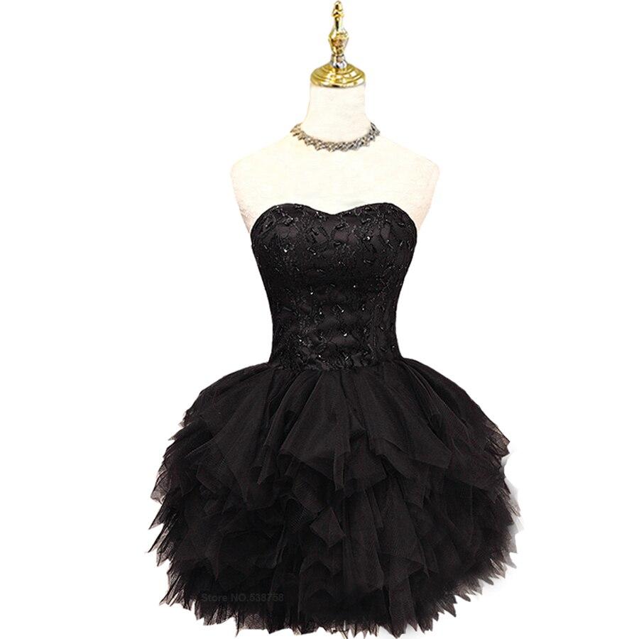 Топ кружева без бретелек Мини короткие пром dress черный тюль формальные evneing вечернее бальное платье бисероплетение плюс размер халат де вечер