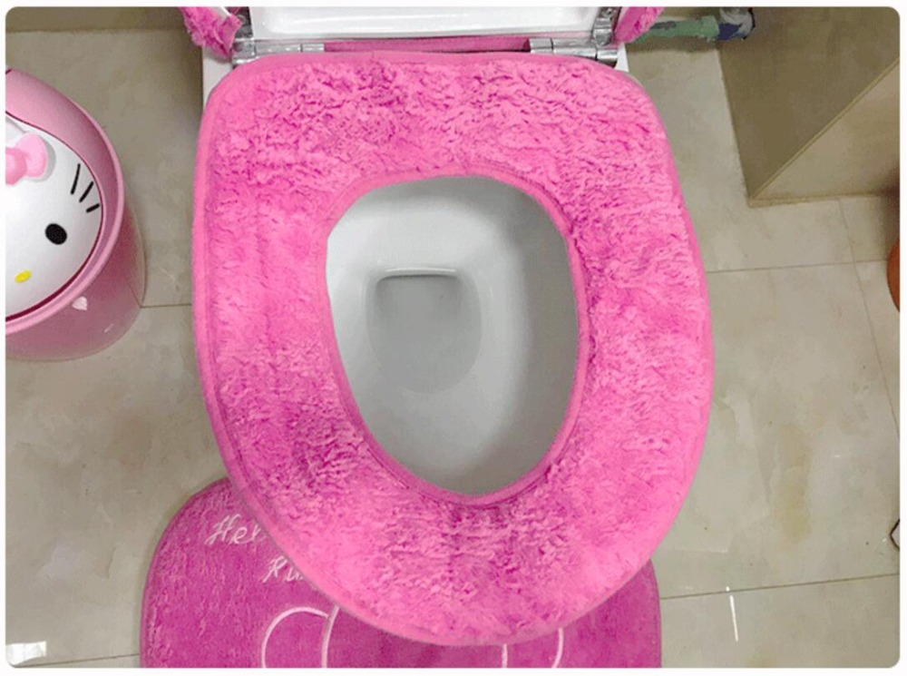Мягкий теплый меховой коврик для ванной с рисунком котенка из мультфильма, Набор чехлов для унитаза