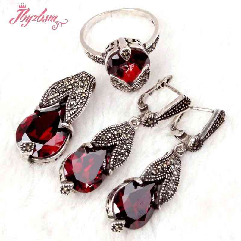 Drop Red CZ Crystal Marcasite Tibetan Silver Fashion Style Pendant Earrings:Ring Pendant 12x29mm,Earring:10x40mm Free Shipping